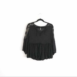 Free People Lace Ruffle Peasant Top Black Size XS